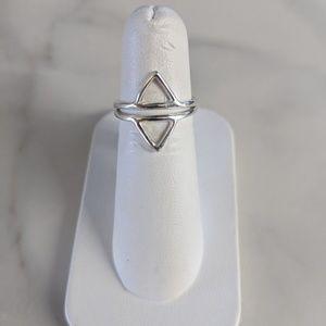 Silver Double Triangle Chevron Ring
